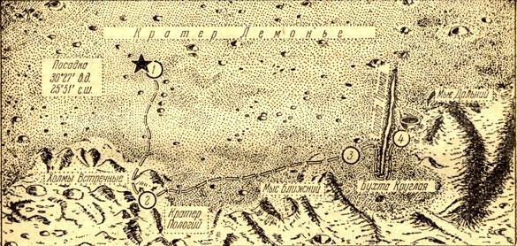 Схема движения 'Лунохода-2'